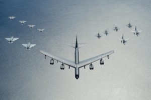 A U.S. Air Force B-52 Stratofortress leads a formation of aircraft including two Polish Air Force F-16s, four U.S. Air Force F-16 Fighting Falcons, two German Eurofighter Typhoons, and four Swedish Gripens over the Baltic Sea, June 9, 2016. The formation was captured from a KC-135 Stratotanker from the 434th Air Refueling Wing, Grissom Air Force Base, Ind., as part of exercise Baltic Operations 2016. (U.S. Air Force photo/Senior Airman Erin Babis)