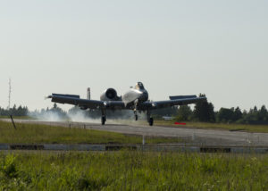 An A-10 Thunderbolt II from the 127th Wing, Michigan Air National Guard, lands on a remote highway strip near Jägala, Estonia after completing a simulated close air support mission in a combined arms live fire exercise during Saber Strike on June 20, 2016. Saber Strike is a long-standing U.S. Army Europe-led cooperative training exercise designed to improve joint interoperability through a range of missions that prepare the 14 participating nations to support multinational contingency operations. (Minnesota National Guard photo by Tech. Sgt. Amy M. Lovgren/ Released)
