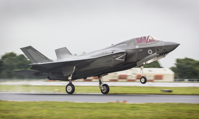 The first of Britain's new supersonic 'stealth' strike fighters has touched down in the UK for the first time. The F-35B Lightning II jet was flown by RAF pilot Squadron Leader Hugh Nichols on its first transatlantic crossing, accompanied by two United States Marine Corps F-35B aircraft from their training base at Beaufort, South Carolina.