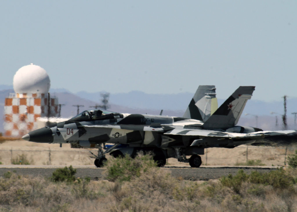 150429-N-IM823-033  FALLON, Nev. (April 29, 2015) An F/A-18A Hornet attached to the Fighting Omars of Fighter Squadron Composite (VFC) 12 taxis at Naval Air Station (NAS) Fallon. (U.S. Navy photo by Mass Communication Specialist 1st Class Joseph R. Vincent/Released)
